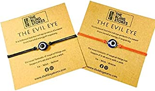 The Bling Stores Couple Handmade Evil Eye Bracelet comes with Greeting Card In Black And Red Color