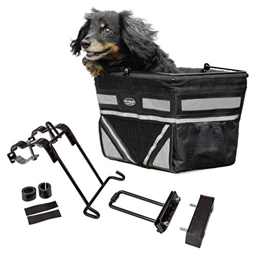 Travelin K9 Pet-Pilot Original Small Dog Bike Basket with Color Options/Comes Assembled Just Install Mount (Silver)