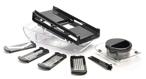 mastrad F21080 Mandoline 2 Râpes et 3 Lames Acier Inoxydable – Facile D'Utilisation – Confort & Sécurité – 1 Réservoir-1 Poussoir-1 Garde – Coloris Noir, ABS, 29,8 x 12 x 10,3 cm