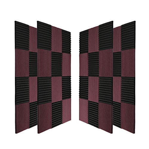 "96 Pack Acoustic Panels Soundproof Studio Foam for Walls Sound Absorbing Panels Sound Insulation Panels Wedge for Home Studio Ceiling, 1"" X 12"" X 12"", Black&Coffee (96Pack, Black&Coffee)"