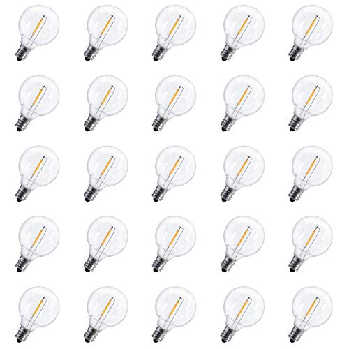Brightown G40 LED Replacement Light Bulbs 1W Shatterproof Clear Globe bulb fits E12/C7 Candelabra Screw Base Sockets, 1.5-Inch Dimmable Light Bulbs for Indoor Outdoor Patio Decor, Pack of 25