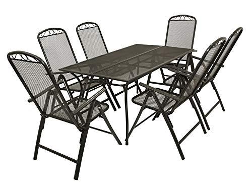 DEGAMO Gartengarnitur Classic 7-teilig, 6X Hochlehner und 1x Tisch, Streckmetall anthrazit