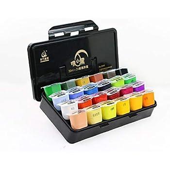 Set de Pinturas Gouache 24 colores * 30 ml Artist Acrylic Paint Pinturas de Tela Impermeables con Estuche para Niños Artista: Amazon.es: Hogar