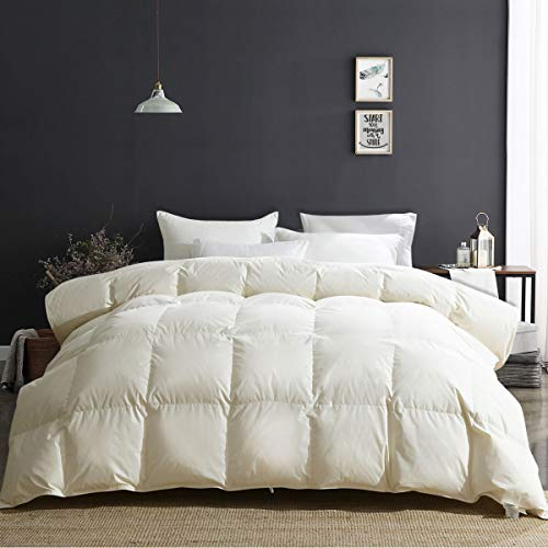 APSMILE Luxury 100% Organic Cotton All Season Goose Down Comforter King Size 650 Fill Power Medium Warmth Hypoallergenic Duvet Insert, Beige White