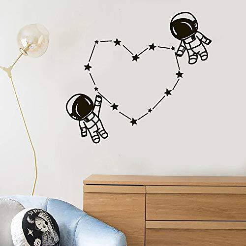 WERWN Astronauta Pared calcomanía Astronauta Espacio niños habitación Dormitorio decoración del hogar Vinilo Pegatina Estrella conexión Amor corazón Mural