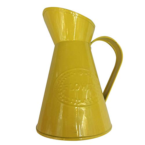 Chakil Chic Metall Krug Vase Blumengefäß Hochzeit Home Tischdeko Pflanzgefäß Topf Gießkanne Französischer Stil Chic Metall Krug Blumenvase mit Vogel Deko, metall, gelb, 10 * 15 * 7.5CM