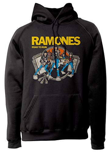 LaMAGLIERIA Sudadera Unisex Ramones Road To Ruin Cod Rs03 - Sudadera con Capucha Punk Rock Band, L, Negro