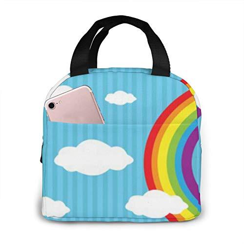 BONRI Blue Sky Circular Rainbow Bolsa de almuerzo con aislamiento portátil Bolsa de almuerzo con aislamiento reutilizable-Fiambrera portátil-Bolsa de almuerzo Bolsa de almacenamiento Bolsa de almuerzo