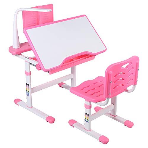 GOTOTOP - Juego de escritorio y silla infantil de altura ajustable, diseño ergonómico, con lámpara de protección ocular, atril de lectura, mueble para dormitorio, aprendizaje creatividad, color rosa