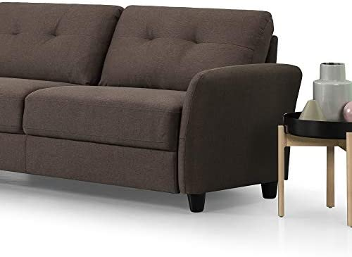 Best Zinus Ricardo Contemporary Upholstered 78.4 Inch Sofa / Living Room Couch, Chestnut Brown