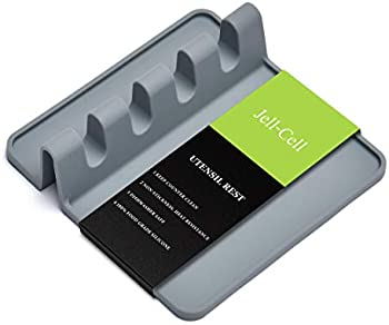 Jell-Cell Silicone Multiple Utensil Rest with Drip Pad (Grey)