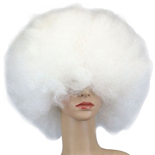 Tinksky Clown Perücke Kostüm Wig Afro Perücke Party Halloween Karneval Faschingsperücke für Erwachsene (Weiß)