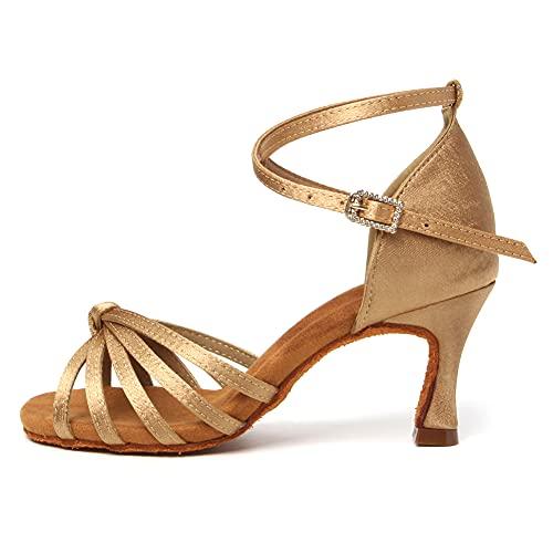 TINRYMX Mujer Zapatos de Baile Latino de satén de Salón Moderno Samba Chacha práctica Performance Zapatos de Baile,Modelo-WZSP-801,Marrón,39 EU