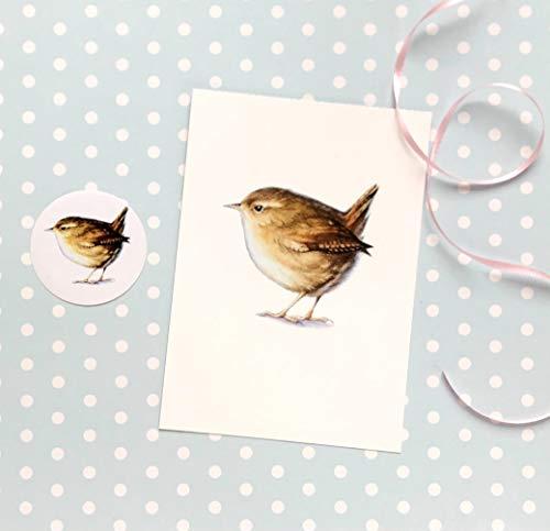 Zaunkönig Grußkarte, Ostern Karte Set aus 2 Teilen, Karte und Sticker, Postkarte A6 Papeterie Set mit Vogel Motiv