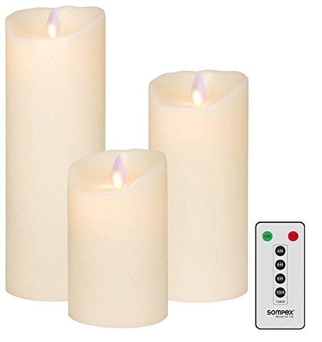 3er SET! Sompex Flame LED Echtwachs Kerze / Kerzen FERNBEDIENBAR V14 Elfenbein 8 x 12,5cm - 8 x 18cm - 8 x 23cm - Bundle (3er Set)