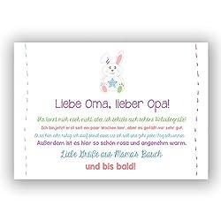 """A6 Postkarte""""Liebe Oma, lieber Opa! Viele Grüße aus Mamas Bauch und bis bald!"""" in Babyfarben Glanzoptik Papierstärke 235g/m2 Geschenk Eltern"""