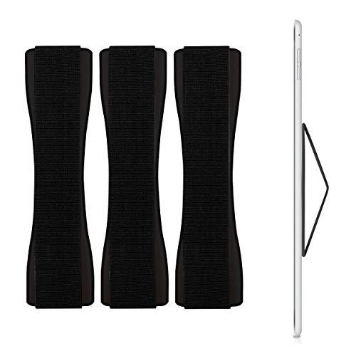 kwmobile 3X Tablet Fingerhalter Griff Halter - Selbstklebende Tablet PC Fingerhalterung - Finger Halter kompatibel mit iPad Samsung Sony Tablets Schwarz