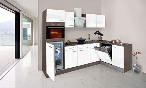 respekta Economy L-Form Winkel Küche Küchenzeile Eiche York Weiss 280x172cm