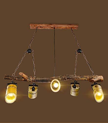 Lámparas de suspensión, lámpara industrial vintage, dormitorio, cocina, salón, restaurante, bar, nostálgicos decorativos de madera Art Chandeliers, 76 cm, 125 centímetros,