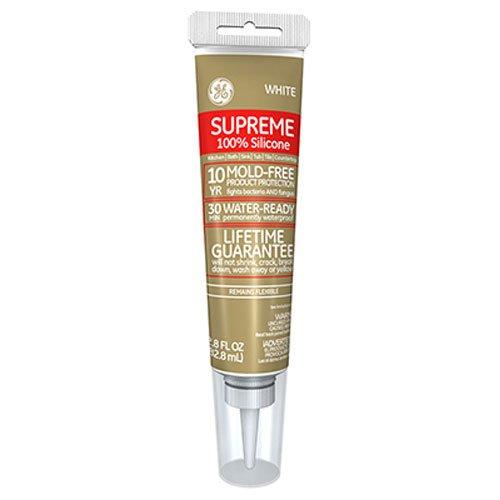 GE Supreme 100% Silicone 30 Min. Water-Ready caulk, 2.8 oz tube, White