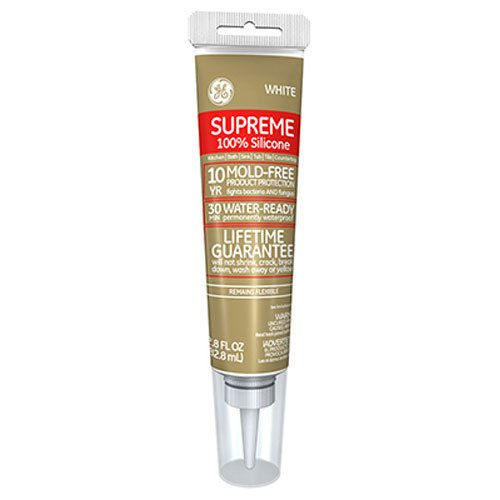 GE Supreme 100% Silicone 30 Min. Water-Ready caulk, 2.8 oz tube, White