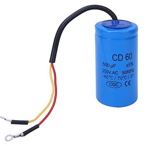 CD60 Condensador redondo 500uf, 40 ° C/70 ° C/21 250VAC Condensador de arranque del motor de bomba de agua a prueba de explosión, para lavadoras, bombas, refrigeradores, compresor de aire