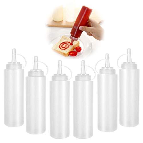 Kunststoff Quetschflaschen Saucenflasche Quetschflasche Dosierflasche Squeeze Flasche Plastikflaschen 250ml Condiment Flaschen mit deckel für BBQ Malen Backen Ketchup scharfe Soße Olivenöl 6 Stück