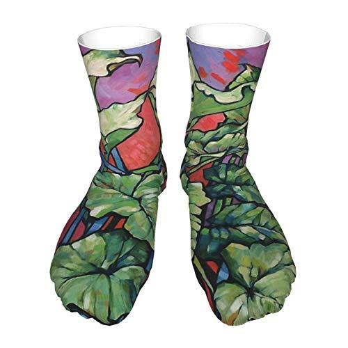 Calcetines para adultos, calcetines largos de algodón, calcetines gruesos de tacón negro, calcetines cálidos, unisex 40cm-salvaje Callas. aceite sobre la composición de la junta 2017