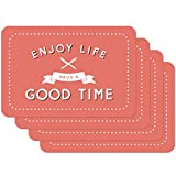 Venilia Good Time Salvamanteles Rojo, Mantelería, Mantel Individual para el Comedor, Apto para Alimentos, 4 tajada, 45 x 30 cm, 59073, 30 x 45 cm