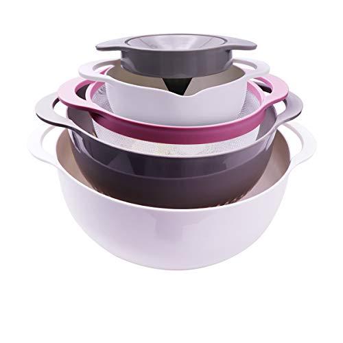 C100AE 5-in-1-Kitchen Strainer/Colander & Schüssel-Sets, Rührschüsselset, Handfruchtsaftpresse,BPA-freie Plastiknistschalen,für Obst Gemüse Reinigung Waschen Mischen