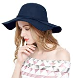 Lovful Women 100% Wool Wide Brim Cloche Fedora Floppy hat Cap,Navy