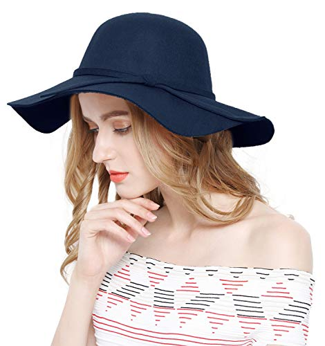 Lovful Women 100% Wool Wide Brim Cloche Fedora Floppy hat Cap,Navy