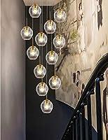 ランプ12ライトガラスボールシャンデリアリビングルームミニマリストモダンな階段シャンデリアデュプレックスヴィラクリエイティブベッドルームレストランシャンデリアパーソナリティ50x220cm(色:青)