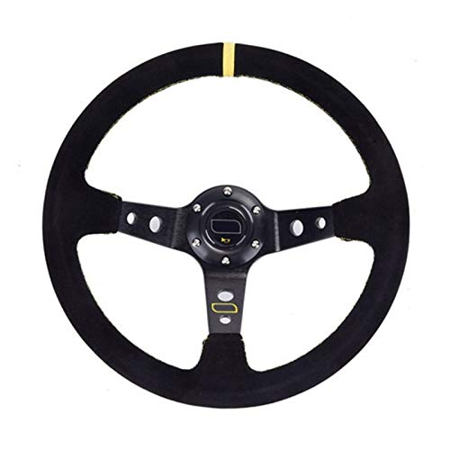 Keep it simple Unversal 14 pulgadas de 350 mm de carreras de automóvil Rueda de dirección de caño profundo Drifteco de gamuza de gamuza resistente al slip-resistente al sling de la cubierta del volant