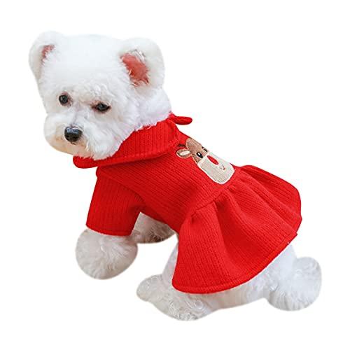 Perro Vestido De Princesa Mascota Vestido Rojo Perro Navidad Ciervo Falda Ropa...
