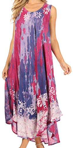 Sakkas 17806 - Julia Boho Ausgestelltes Mehrfarben Marmor Batik Baumwolle Lange Kleid/Cover Up - Rot - O