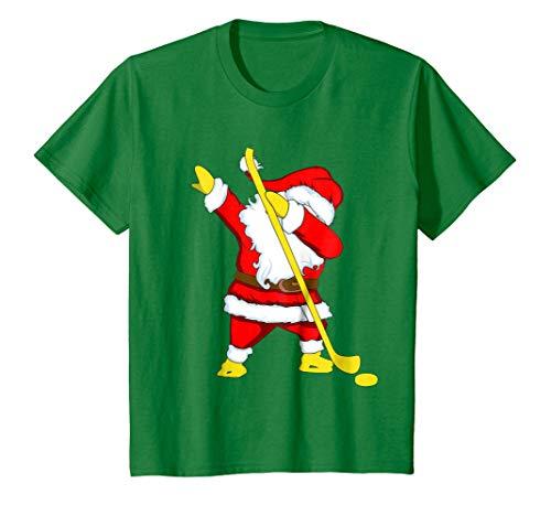 Kids ice hockey dabbing Santa Christmas shirt 10 Kelly Green