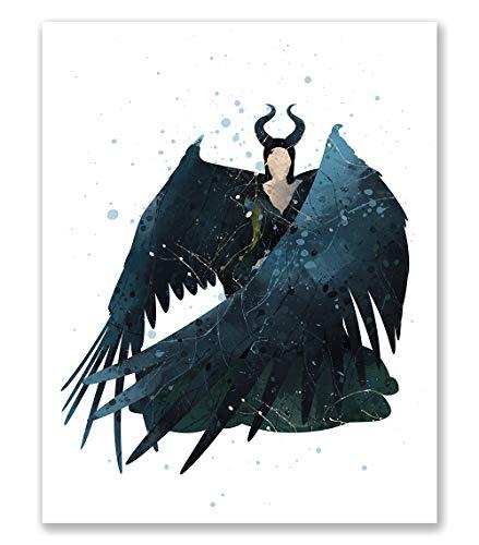 Maleficent Poster – Aquarell-inspirierter Schlafzimmer-Druck – Kinderzimmer Wandkunst Dekor – Geburtstagsgeschenk für Jungen Mädchen (20,3 x 25,4 cm)