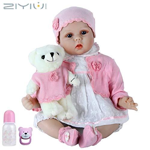 ZIYIUI 55cm Bambole Reborn Baby Dolls Silicone Bambolotti Ragazza Bambola Reborn - Indossa Un Cappotto Rosa e Tiene Un Orsacchiotto Rosa