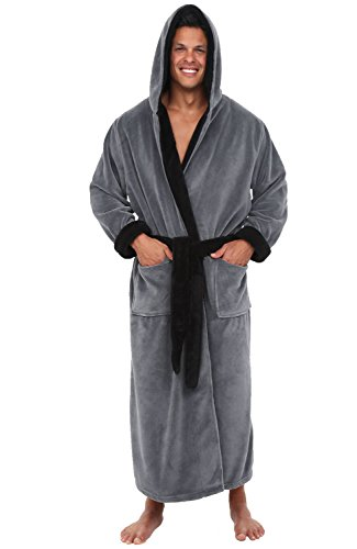 Alexander Del Rossa Men's Warm Fleece Robe with Hood, Big and Tall Bathrobe, Large-XL Steel Gray with Black Contrast (A0125STBXL)