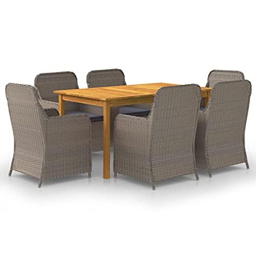 vidaXL Gartenmöbel Set 7-TLG. Sitzgruppe Gartengarnitur Sitzgarnitur Gartenset Tisch Stühle Sessel Gartentisch Gartensessel Esstisch Braun