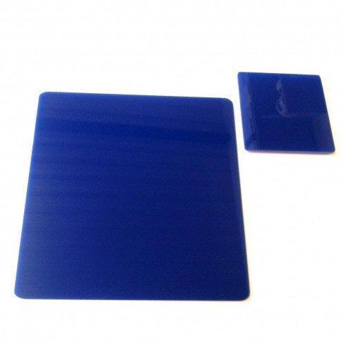 Super Cool Creations 8 carré Bleu Acrylique Dessous de Verre & 8 Sets de Table
