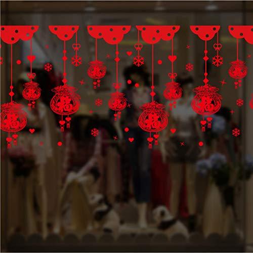 ZSYNB Wandaufkleber Oriental New Year Fensteraufkleber Fortune Bag Ornament Wandaufkleber Shop Showcase Poster DIY Home Aufkleber
