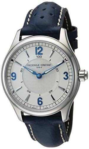 Frederique Constant Men's Horological Smart Watch Stainless Steel Swiss-Quartz Leather Calfskin Strap, Blue, 21 (Model: FC-282AS5B6)