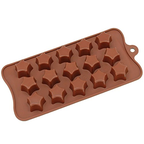 Silicone Chocolate Candy Molds [Star, 15 Cup] - Non Stick, BPA Free, Reusable 100% Silicon & Dishwasher Safe Silicon - Kitchen Rubber Tray For Ice, Crayons, Fat Bombs and Soap Molds