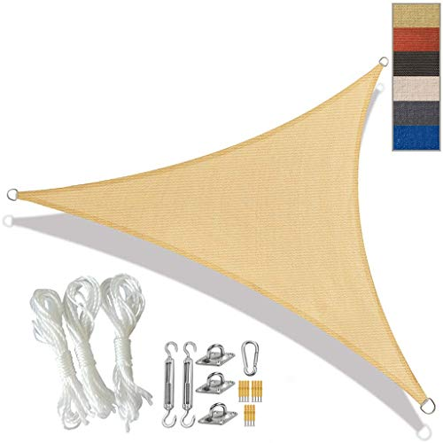 BYZHP Toldo Vela de Sombra Triangle Sun Shade Sail Water HDPE Resistente a la protección Solar con Dosel con el Kit de fijación Toldo Impermeable UV Bloquear Sunda con Cuerda Libre
