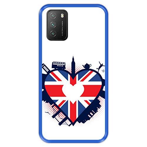 Hapdey silikon Hülle für [ Xiaomi Poco M3 ] Design [ England, herzförmige Flagge von Großbritannien ] Blau Flexibles TPU