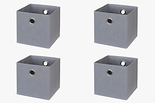 New Swedish Design IKEA Kallax (früher Expedit) Regal Faltbox 32 x 32 x 32 cm/Spielzeugbox Regalkorb Klappbox Regalbox Storage Box Stoffbox/faltbar/Spielzeug Aufbewahrung / 4er-Set/Farbe: GRAU