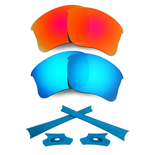 HKUCO for Oakley Flak Jacket XLJ Red/Blue Polarized Replacement Lenses and Blue Earsocks Rubber Kit