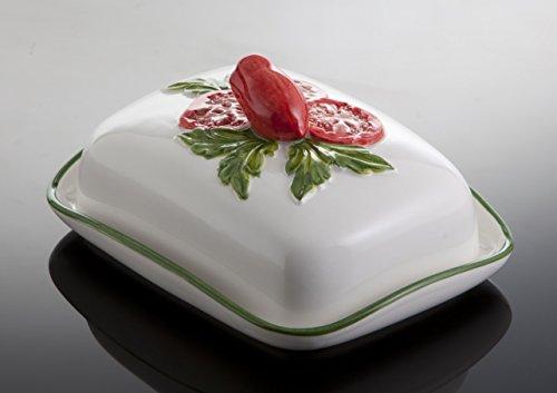 Bassano Ausgefallene italienische Keramik Butterdose mit Tomatendekor 18x14